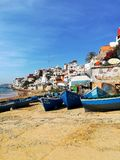 Morrocan village. Small village near seaside. Mens here cath the fish by this ships Stock Image