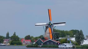 Small village in the Netherlands with the typical Windmills - Amsterdam - The Netherlands - July 19, 2017 stock video