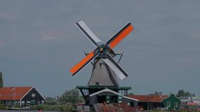 Small village in the Netherlands with the typical windmills stock video footage