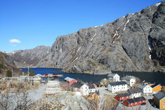 The small village of Nusfjord. In  Lofoten islands that is protected by UNESCO as best preserved fisherman's village of Norway Royalty Free Stock Photos