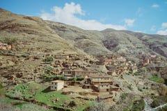 A small village in the rural area of Atlas mountain range. Morocco. stock photos