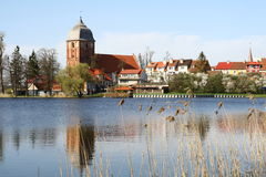 Small village over the lake. In Mazurian lakes area stock image