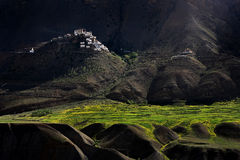 Small village with paddy field in mountain valley at Northern In Stock Photo