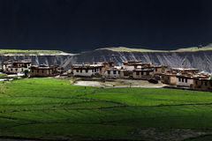 Small village with paddy field in mountain valley at Northern In Royalty Free Stock Images
