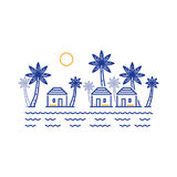 Small village among palm trees, three bungalows by river or lake Royalty Free Stock Images