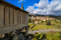 An horeo overlooking a village royalty free stock photography