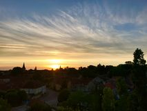 Small village panorama sunset view, France Stock Photography