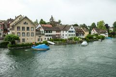 A small village on a river in Bavaria stock photography