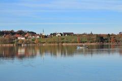 Small village Seegraben in autumn stock photo