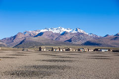 Small village of shepherds of llamas in the Andean mountains. An Royalty Free Stock Images