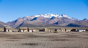 Small village of shepherds of llamas in the Andean mountains. An Royalty Free Stock Photography