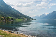 Small village at the shore of fjord, Norway Stock Photo