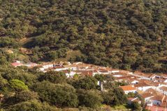 Small village in the Sierra de Aracena. The Sierra de Aracena and Picos de Aroche Natural Park is a natural area located in the north of the province of Huelva Royalty Free Stock Images
