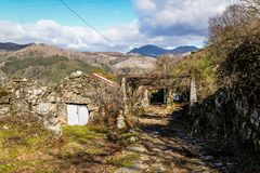 The small village of Sistelo. Nestled in the mountains of the Peneda Geres National Park royalty free stock image