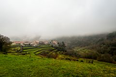 The small village of Sistelo. Nestled in the mountains of the Peneda Geres National Park stock photos