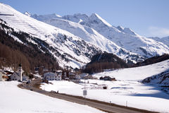 Small village and ski resort in Tirol. Small Tyrolean village Untergurgl in South Tirol, Austria in the ski center Obergurgl-Hochgurgl in Otztal with the view of Stock Photos