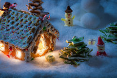 Small village in the snow built from sweetness Stock Photo