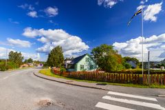 Small village in summer time. Scenery of small village in summer time, Sweden Royalty Free Stock Image