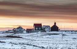 Small village in sunset in Iceland Stock Image