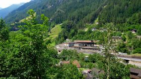 Small village in the Swiss Alps. Travel photography stock video footage
