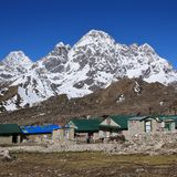 Small village Thagnak and Mt Phari Lapcha Stock Photography
