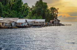 Small Village on Togean Islands at sunset Stock Photo