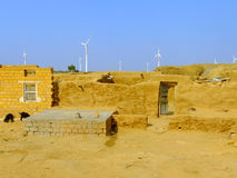 Small village with traditional houses in Thar desert, India Royalty Free Stock Image