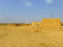Small village with traditional houses in Thar desert near Jaisal Royalty Free Stock Image