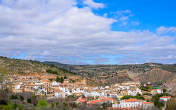 Small village in the valley of Cofrentes and banks Stock Photos