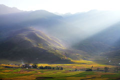 Small village in the valley. Mu Cang Chai - Yen Bai - Viet Nam Royalty Free Stock Photography