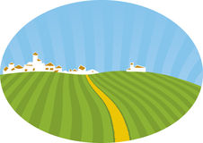Small village (vector). Rural scene with town and cultivated fields Stock Image