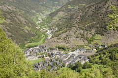 Small village view from a distance. Small village located somewhere in the Pyrenees in Andorra Stock Images