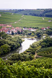 Small village and vineyards. Wine valley near the river main in germany Stock Images