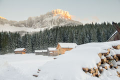 Small village in winter mountains Royalty Free Stock Image
