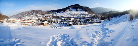 Small village in winter Royalty Free Stock Photos