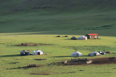Small village of yurts in the steppe Stock Images