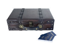 Small Vintage Briefcase with Passports Stock Images
