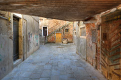 Small vintage courtyard in Venice, Italy. Royalty Free Stock Photo