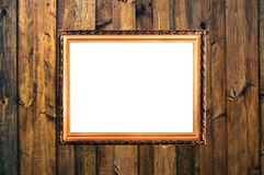 Small vintage frame on wooden planks Royalty Free Stock Photos