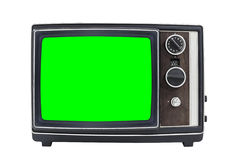 Small Vintage Portable Television with Chroma Green Screen Royalty Free Stock Photography
