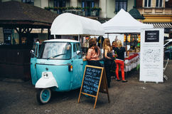 Small vintage wagon with coffee and fast food, Krakow Royalty Free Stock Image