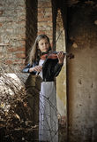 Small violinist Stock Image