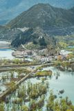 Small Virpazar town seen from above. Buildings in small Virpazar town seen from above, Skadar Lake National Park, Montenegro stock images