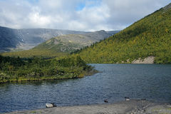 Small Vudyavr Lake in Khibiny Mountains, Russia Stock Image