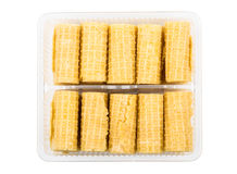 Small wafer rolls in transparent plastic box Royalty Free Stock Image