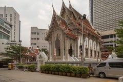 Small Wat Monastery in city in Bangkok stock photography