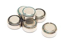 Small watch rusty batteries isolated on white background Royalty Free Stock Photo