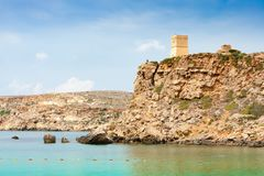A watchover tower in the west coast of Malta. A small watchtower in the west coast of Malta Stock Images