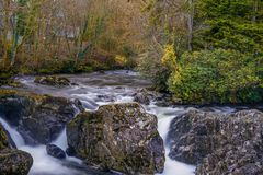 Small water fall long exposure wales royalty free stock photos