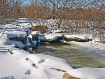 Small water pool in the winter. A small pool of water in a winter scene stock photos